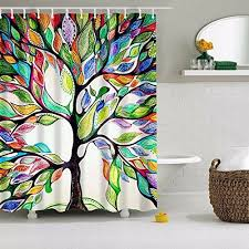 colorful fabric shower curtains. COMROLL Colorful Tree Shower Curtain Of Life Polyester Fabric Bathroom With Hooks Curtains C