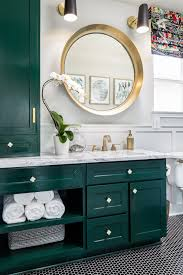 Guest Bathroom Makeover Green Cabinets Round Gold Mirror Marble