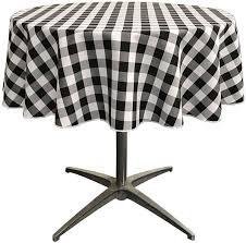 la linen poly checd round tablecloth 58 inch black tccheck58rblackwht