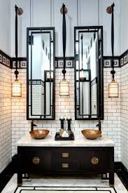 dramatic effect with bronze bathroom light fixtures resembling lanterns