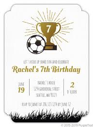 Soccer Party Invite Faux Gold Trophy Soccer Party Invitation