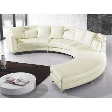 Curved Sectional Sofa - Cream Leather ROTUNDE