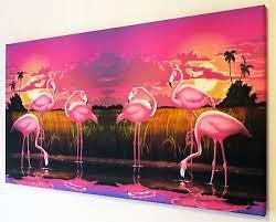 pink flamingo canvas print wall art