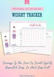 A5 Weight Loss Tracker Printable A5 Half Letter Body Measurement Chart Template Weight Loss Progress Planner Bullet Journal Template