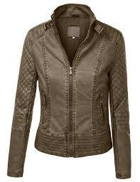 LE3NO Womens Faux Leather Quilted Zip Up Moto Biker Jacket With ... & LE3NO Womens Faux Leather Quilted Zip Up Moto Biker Jacket With Stitching  Detail Adamdwight.com