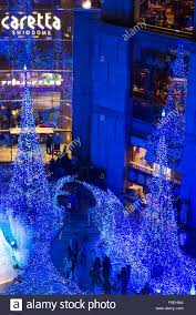 Shiodome Christmas Lights Visitors Enjoy The Christmas Lights At The Caretta