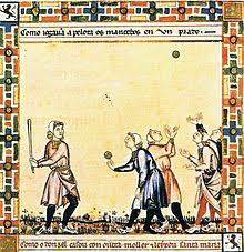 baseball a game from the cantigas de santa maria c 1280 involving tossing a ball hitting it a stick and competing others to catch it