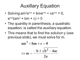 auxillary equation solving am2emx bmemx cemx 0