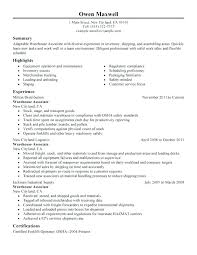 Resume Template For Warehouse Worker