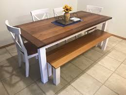 Dining Table And Bench I Built Redwood Top With Pine Legs And