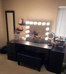 black makeup vanity with drawers. who else loves a good all black vanity station!@makeupforeversimo\u0027s setup features makeup with drawers p