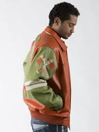 Orange Green Leather Jacket With Multiple Studs Pelle Pelle
