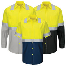 Red Kap Mens Hi Visibility Ripstop Work Shirt Type R Class 2 Sy24 Sy14