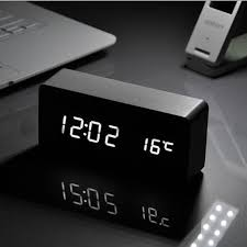 white led wooden board alarm clock temperature thermometer digital watch activated battery