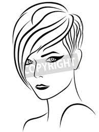 Posters Tête De Femme Avec Une Belle Coiffure élégante Dessin Croquis
