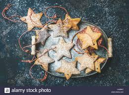 Weihnachtsstern Geformt Lebkuchen Für Baumschmuck Mit Seilen