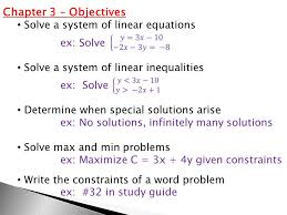 7 chapter 3 objectives solve a system of linear equations