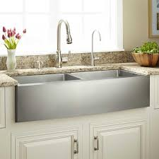 double bowl stainless steel farmhouse sink combined granite counter top and chrome metal faucet stainless steel