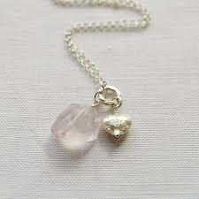 silver heart rose quartz necklace