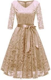 Light Blue 3 4 Sleeve Dress Neudas Women Elegant Lace Dress V Neck 3 4 Sleeve High Waist