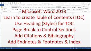 Microsoft Word 20132016 Pt 7 Table Of Contents Bibliography Endnote Index