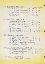 Bruce Lee Practice Chart Bruce Lees Training Schedule Bruce Lee Training Bruce Lee