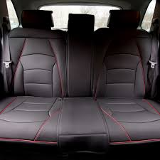 rear split bench cushion pad seat covers for car suv truck van black red trim 0