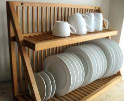 wall mounted kitchen plate storage rack