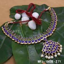 Blue Green Online Kempu Blue Green Colour Stones With Pearl Drops Mango Design Necklace For Bharatanatyam Dance And Temple Buy Online