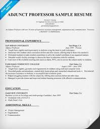 Adjunct Professor Resumes Adjunct Professor Sample Resume Resume Builder Online