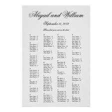 Abigail Elegant Alphabetical Wedding Seating Chart Zazzle