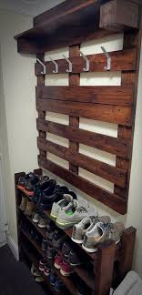 Coat And Shoe Rack A Hallway Pallet Coat Rack And Shoe Rack That Is Both Good Looking 35