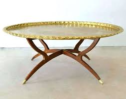 coffee table brass wood and large round glass legs