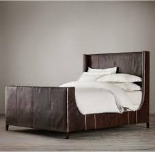 upholstered leather sleigh bed. Quality American Style Grayson Leather Upholstered Sleigh Bed With Footboard For Sale R