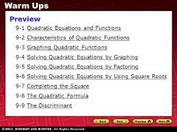 solving quadratic equations by graphing presentation transcript 1 9 1