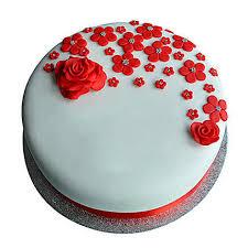 Red Roses Anniversary Fondant Cake Chocolate 1kg Gift Happy