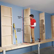 Image Rustic Attach Uprights Garage Cabinets The Family Handyman Giant Diy Garage Cabinet The Family Handyman