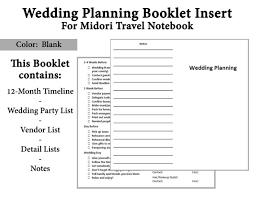 Blank Wedding Planning Checklist Midori Traveler Notebook Printable Booklet Wedding Planning Insert