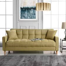 living room yellow living room modern linen fabric tufted small space living room sofa yellow
