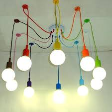 spider pendant lights colors lighting multi color silicone bulb holder lamps home decoration 4 arms fabric