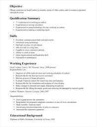 Teller Job Description For Resume Letter Resume Directory