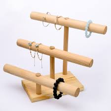 Wooden Display Stands For Figurines 100 Layer Bracelets Pendant Display T Bar Wood Bracelets Display 44