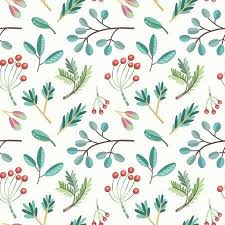 Seamless Vector Pattern With Plants Leaves Berries Branches