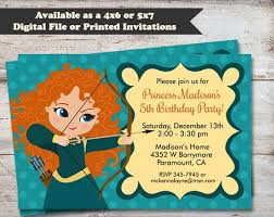 Birthday Invitation Pictures Best Princess Merida Birthday Party Invitations Brave Birthday