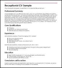 Receptionist Description Resume