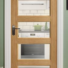 contemporary oak 5 panel pre glazed internal door