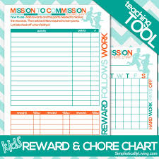 Financial Peace Junior Chore Chart Free Printable Kids Commission Reward And Chore Chart Based