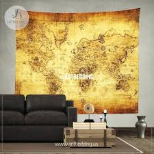 large map wall art ancient world map wall tapestry vintage hanging art old historical antique world