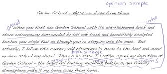 garden school annotated samples narrative opinion and  the value of teaching the organization of each genre of writing