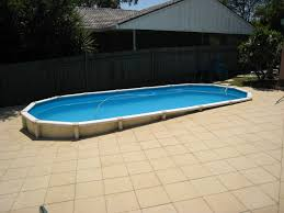 semi inground concrete pools. Perfect Semi Concrete Pools With Outdoor Tile Flooring And Semi Inground Also  Wooden Fence For Great Backyard Landscaping Design To